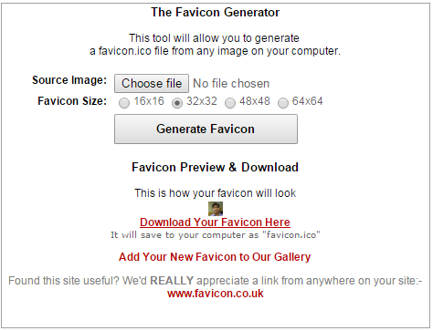 Creating a favicon using favicon.co.uk tool