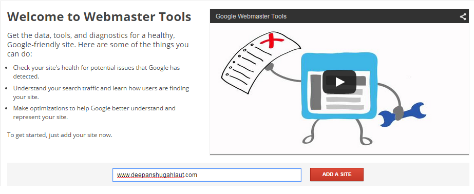 Add Site To Google Webmaster Tool