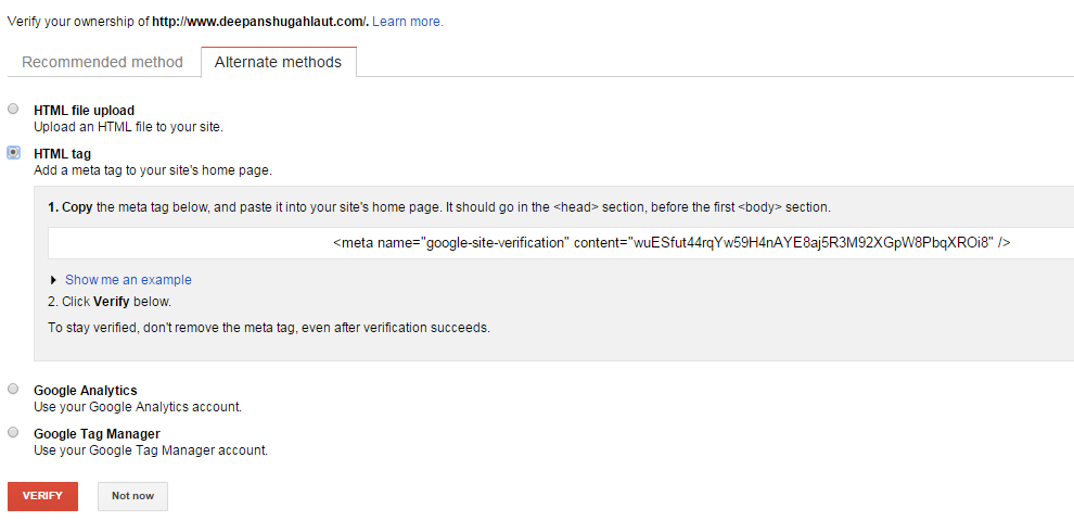 Google Webmaster Tools Verification Method