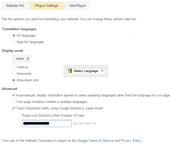 Google Website Translator Settings