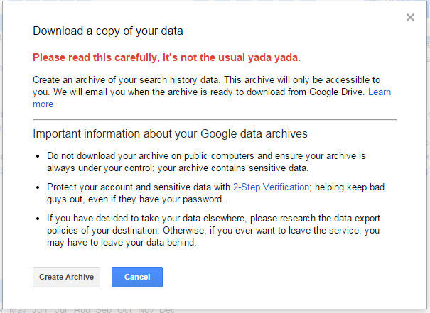 Google Warning Dialogue