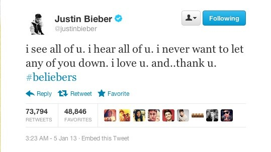 Justin Bieber's latest tweet status