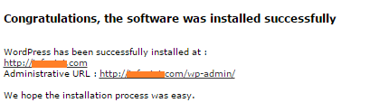 Congratulations software installed