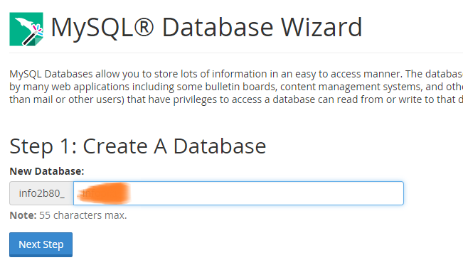 Create a database in cPanel
