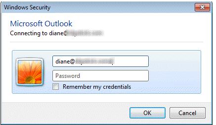 Enter Network Password Dialog in Outlook