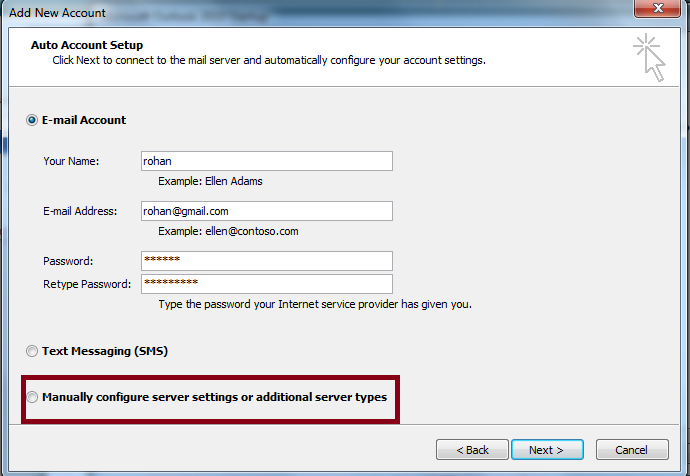 Manually Configure Server Settings in Outlook