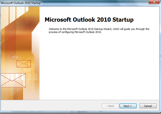 Outlook 2010 Startup Window