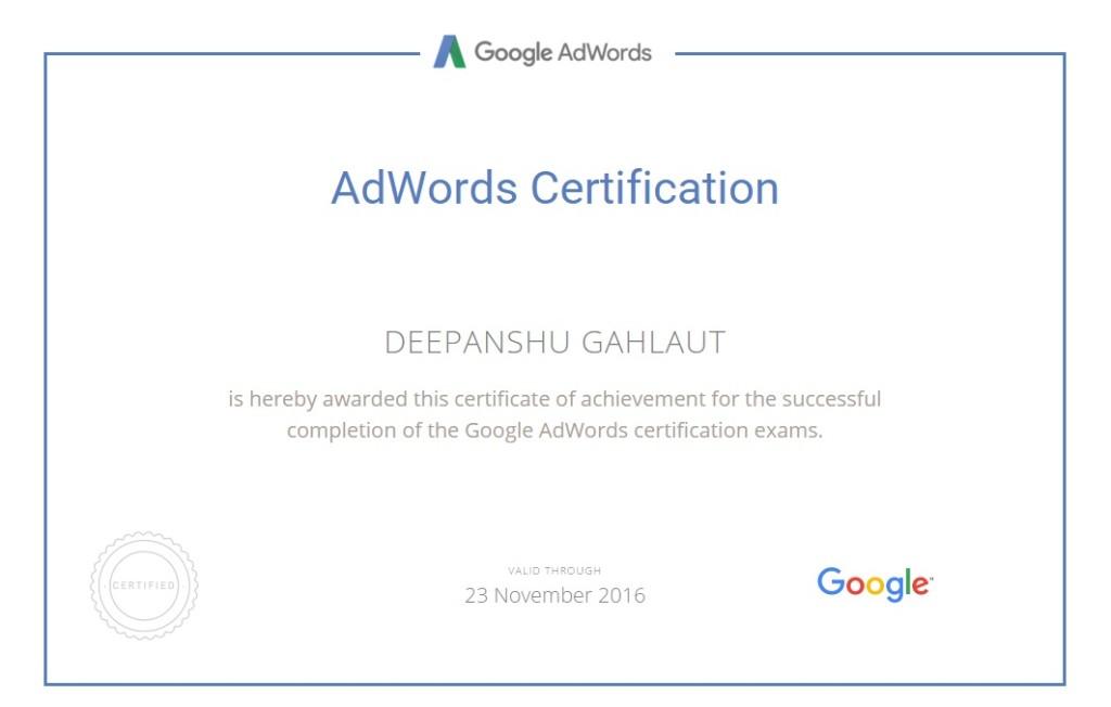 Google Adwords Certificate - Deepanshu Gahlaut