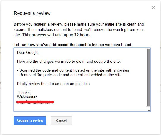 Example message for Google review in webmaster