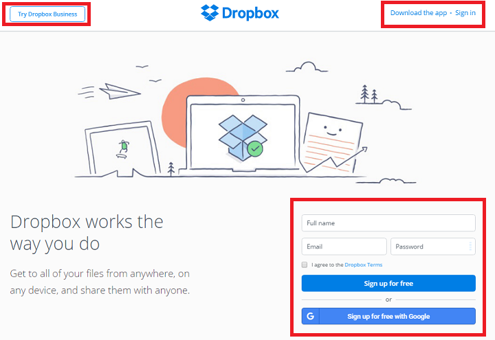 dropbox call to actions