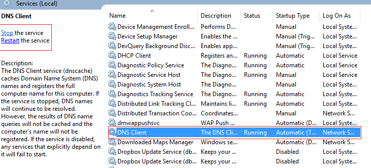 DNS client service in windows