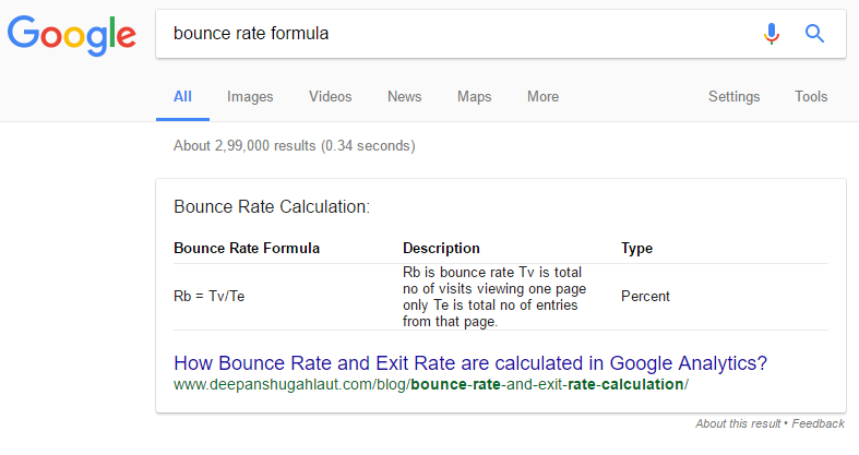 bounce rate answer box